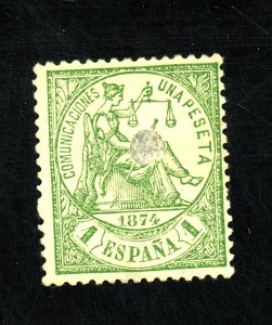 SPAIN #208 USED F-VF PUNCHED HOLE Cat $100