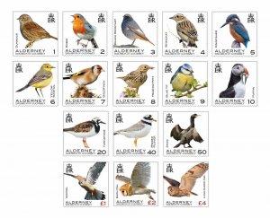 Stamps 2020. Alderney. - Birds of Alderney. Set of 16 stamps