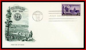 US FDC #957 3c Wisconsin - Artmaster Cachet
