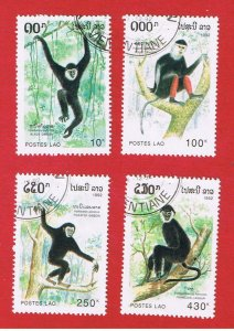 Laos #1098-1101 VF used  Apes  short set   Free S/H