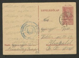 HUNGARY - TRAVELED POSTCARD WITH NICE LOCAL BLUE STAMP - STATIONARY - 1943..