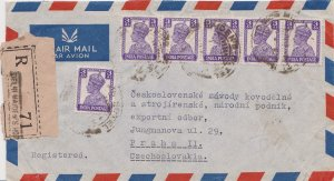India 3a KGVI (6) c1947 Maiden's Hotel Registered Airmail to Prague, Czechosl...