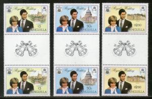 Anguilla 1981 Royal Wedding Charles & Diana Gutter Pair Sc 494-96 MNH # 3784