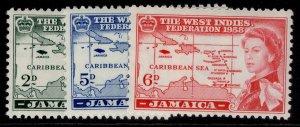 JAMAICA QEII SG175-177, complete set, M MINT.