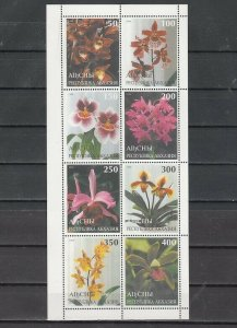 Abkhazia, 415-422 Russian Local. Orchids sheet of 8.