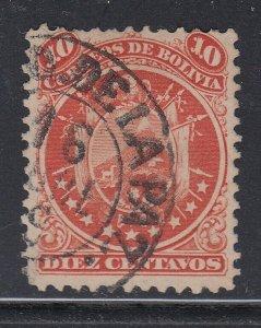 Bolivia 1868-69 Coat of Arms 10c Vermilion (nine stars) used. Scott 11