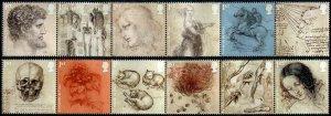 HERRICKSTAMP GREAT BRITAIN Sc.# 3803-14 Leonardo da Vinci Strips