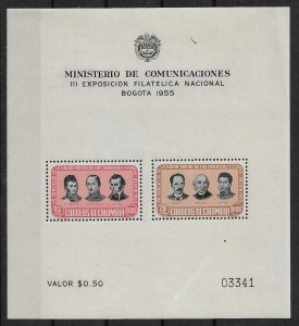 1955 Columbia ScC278a National Philatelic Expo MNH S/S