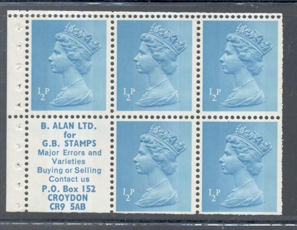 Great Britain Sc MH22a 1970 1/2d Machin Head stamp booklet pane mint NH