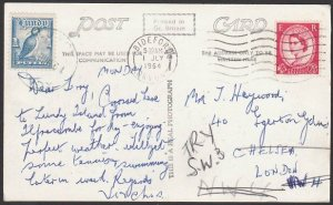 GB LUNDY 1964 commercial postcard with 1p local.............................K454