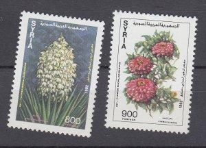 J28854, 1992 syria hv,s of set  mnh #1273-4 flowers