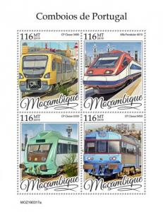 MOZAMBIQUE - 2019 - Trains of Portugal - Perf 4v Sheet - MNH