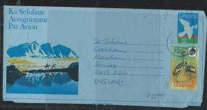 LESOTHO (P2912B) 12S BIRD AEROGRAMME UPRATED 10S BIRD TO ENGLAND