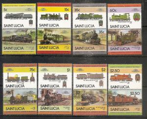 St.Lucia  711-18 MNH 1985 Locomotives