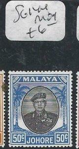 MALAYA JOHORE  (P2206B) SULTAN  50C SG 144   MOG