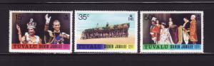 Tuvalu 43-45 Set MNH Queen Elizabeth II Silver Jubilee (D)