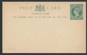 GIBRALTAR QV ½d postcard fine unused.......................................46945