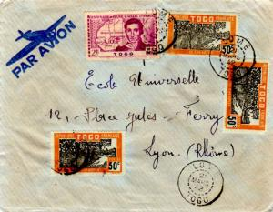 Togo 50c Cacao Trees (3) and 2F Caillie 1942 Lome, Togo Airmail to Lyon, Fran...