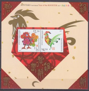2016 Aitutaki 960x-961x/B108 Year of the Rooster 12,00 €