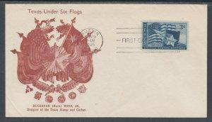 US Planty 938-11 FDC. 1945 3c Texas, Buchanan Winn Cachet, also designed stamp
