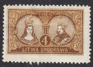 Central Lithuania Scott 38 perf 13 1/2 F+ mint OG HHR. Lot # C