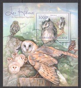 TG829 2012 TOGO FAUNA BIRDS LES HIBOUX OWLS ONLY BL MNH
