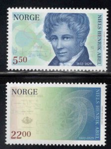 Norway Scott 1332-1333 Mathematician Abel set