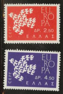 GREECE Scott 718-719 MH* 1961 Europa set