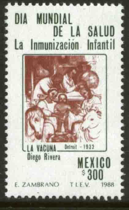 MEXICO 1538 World Health Day, Mural by Diego Rivera MNH