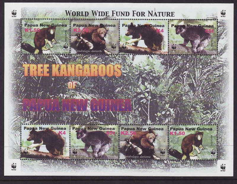 Papua New Guinea MNH S/S 1091 Tree Kangaroos WWF 2003 8 Stamps