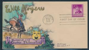#975 WILL ROGERS HANDPAINTED FDC CACHET BY DOROTHY KNAPP NOV 4,1948 HW5112