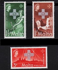 Malta Scott 263-65 complete set F to VF mint OG NH.