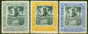Barbados 1907 Nelson set of 3 SG158-162 Fine Mtd Mint