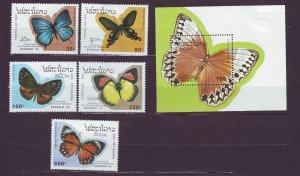 Z693 JLstamps 1993 laos set mhr #1143-8 s/s butterflies