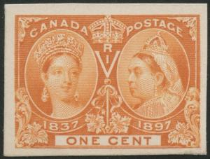 CANADA #51P4 PLATE PROOF ON CARD 1¢ JUBILEE VF-XF BS6432