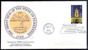 UNITED STATES FDC 32c Tennessee SA 1996 Fleetwood