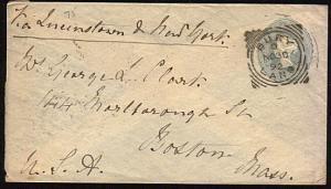 GB 1892 2½d envelope to USA BURY /LANCS squared circle pmk.................44627