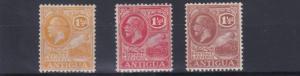 ANTIGUA  1921 - 29   S G  67 - 69        3 X 1 1/2D VALUES  MH