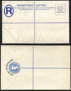 British Bechuanaland 4d O/P on QV 2d Blue Registered Letter Mint