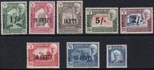 Sc# 20 / 30 Aden Mukalla 1951 portrait type surcharge set MLMH CV $28.50