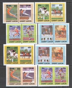 I1405 IMPERF,PERF SAINT LUCIA LEADERS OF THE WORLD OLYMPIC GAMES 1984 2SET MNH