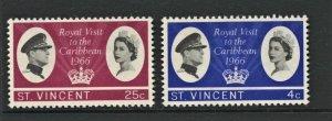 STAMP STATION PERTH St. Vincent #245-246 QEII Royal Visit MNH CV$3.00
