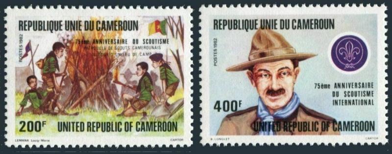 Cameroun 719-720,MNH.Michel 988-989. Scouting Year 1982.Campfire,Baden-Powell.