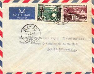 French Equatorial Africa 5F and 10F FIDES 1960 Oyem, Gabon Airmail to Librevi...