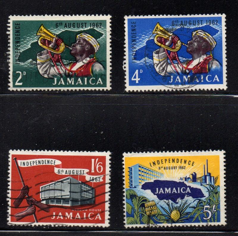Jamaica Sc 181-4 1962 Independence stamp set used