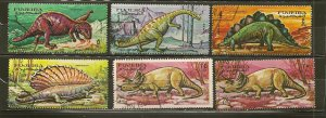 Fujeira Collection of 6 Different 1968 Dinosaur Stamps CTO