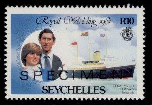 SEYCHELLES QEII SG509, 1981 10r Brittania - SPECIMEN, NH MINT.