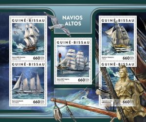 GUINEA BISSAU - 2017 - Tall Ships - Perf 5v Sheet - MNH
