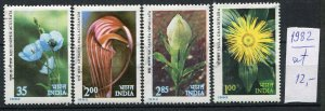 266372 INDIA 1982 year stamps set FLOWERS