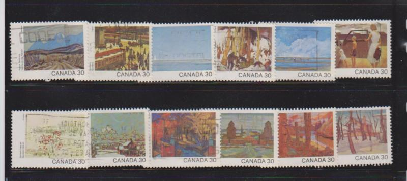 CANADA DAY SET OF PAINTINGS  (12) USED STAMPS  LOT#147